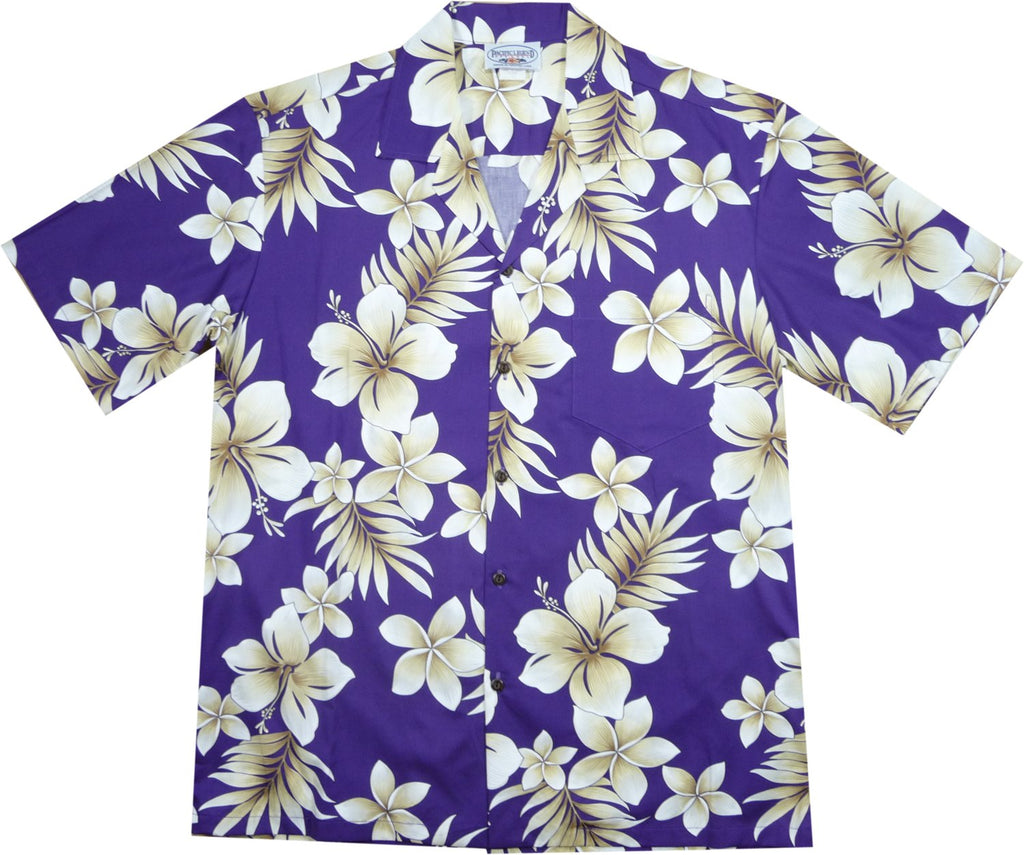Beachcomber Purple Hawaiian Cotton Aloha Sport Shirt - PapayaSun