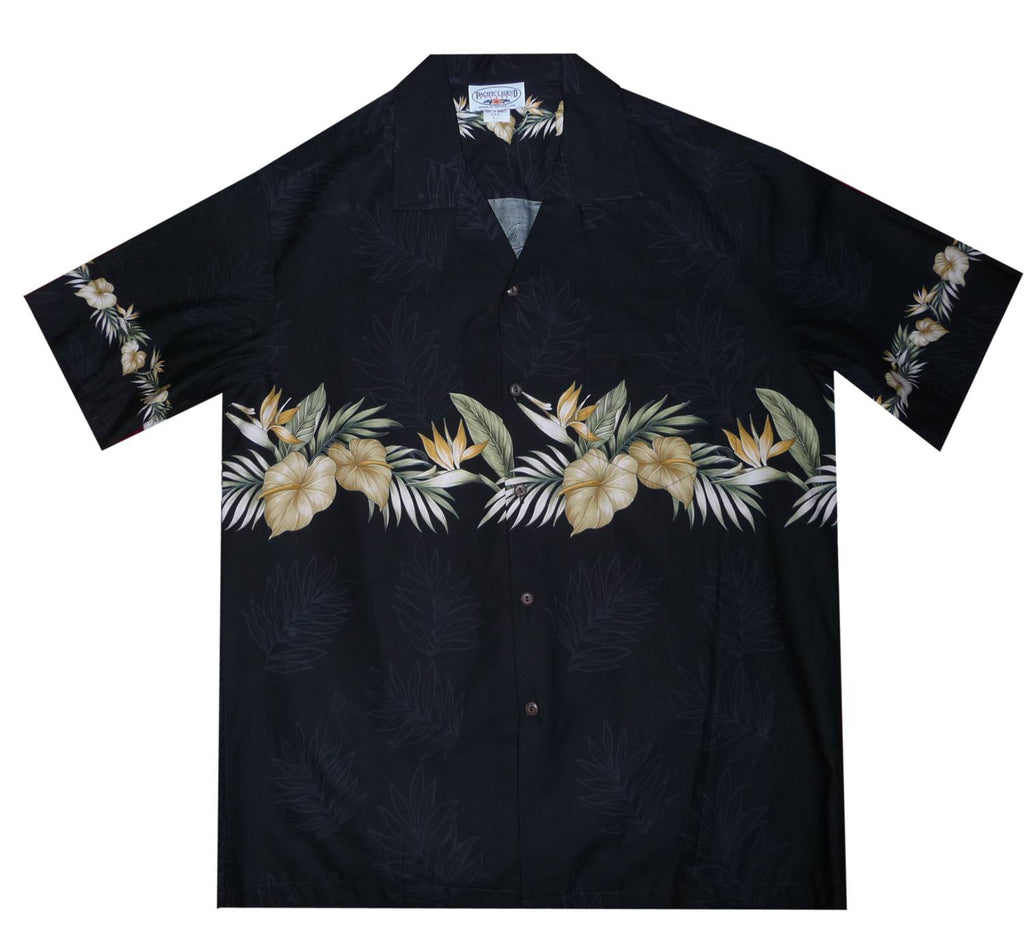 Bird of Paradise Black Hawaiian Border Aloha Sport Shirt - PapayaSun