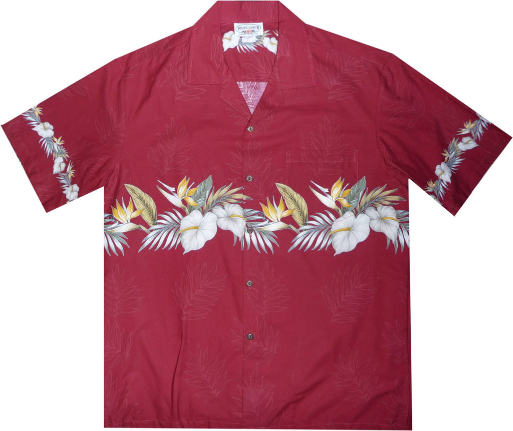 Bird of Paradise Red Hawaiian Border Aloha Sport Shirt - PapayaSun