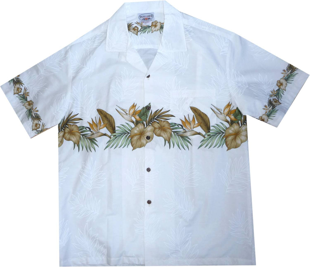 Bird of Paradise White Hawaiian Border Aloha Sport Shirt - PapayaSun