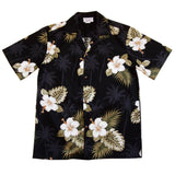 Blackberry Black Hawaiian Cotton Aloha Sport Shirt - PapayaSun