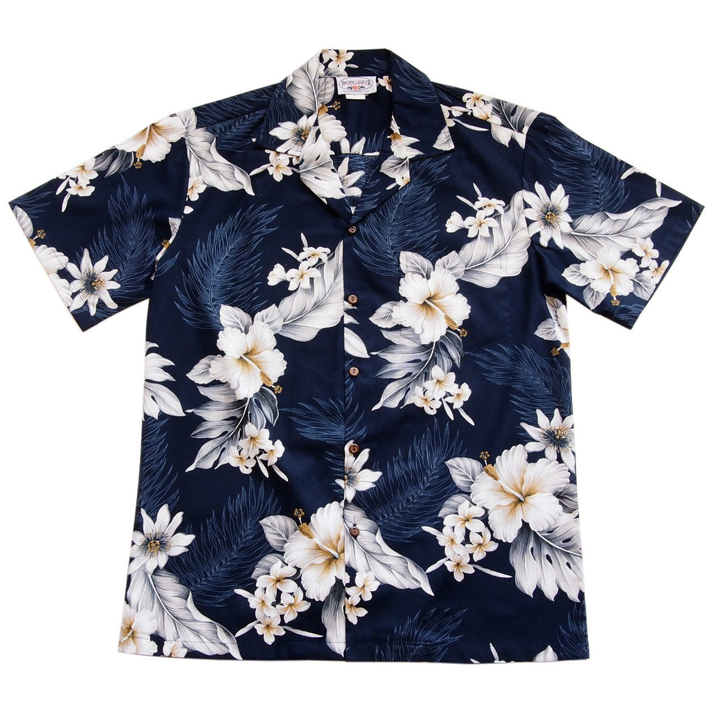 Blueberry Navy Hawaiian Cotton Aloha Sport Shirt - PapayaSun