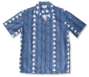 Bamboo Panel Blue Hawaiian Rayon Aloha Camp Shirt