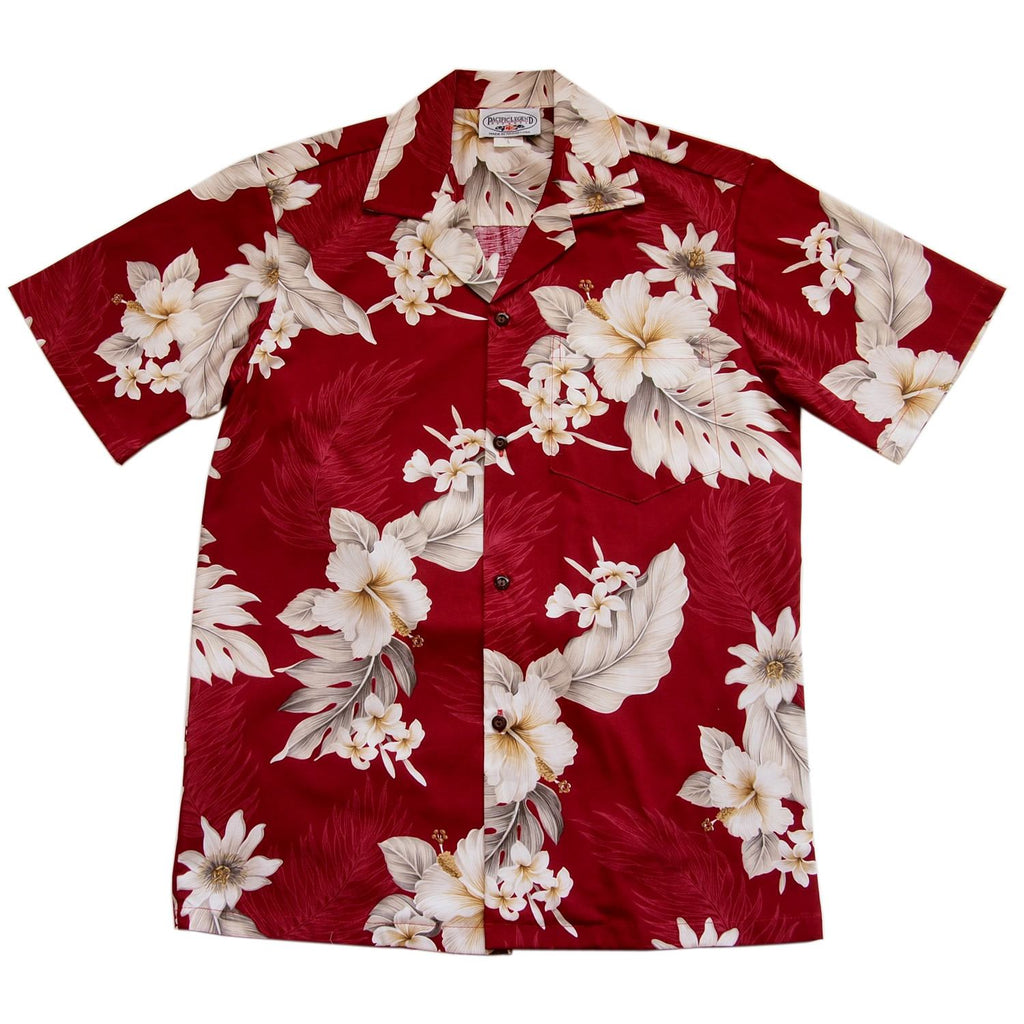 Chili Red Hawaiian Cotton Aloha Sport Shirt - PapayaSun