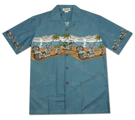 Choppers Blue Hawaiian Border Aloha Sport Shirt - PapayaSun