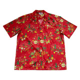 Christmas Ornaments Red Cotton Aloha Hawaiian Print Shirt - PapayaSun