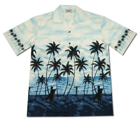 Cabana White Hawaiian Cotton Aloha Sport Shirt