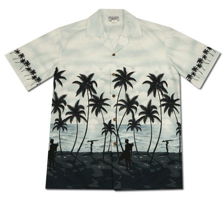 Endless Summer Grey Hawaiian Border Aloha Sport Shirt - PapayaSun