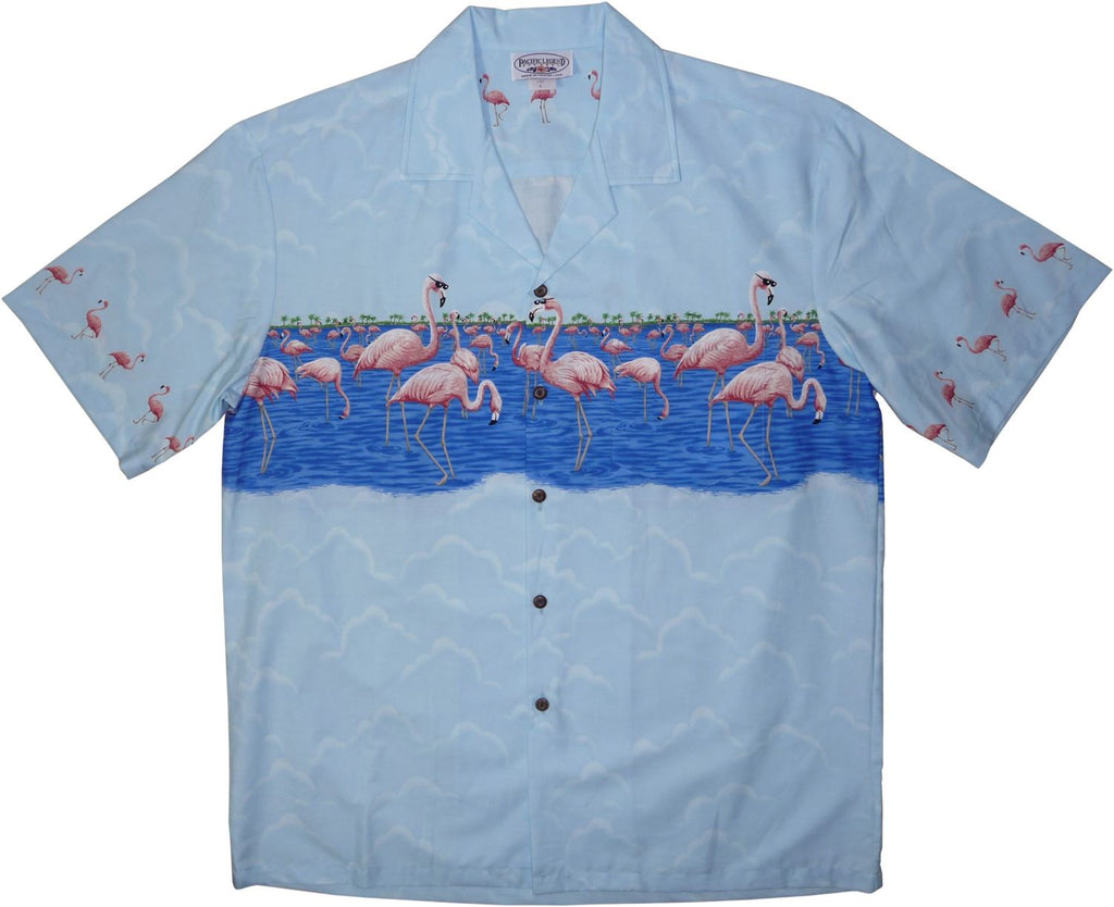 Flamingo Blue Hawaiian Border Aloha Sport Shirt - PapayaSun
