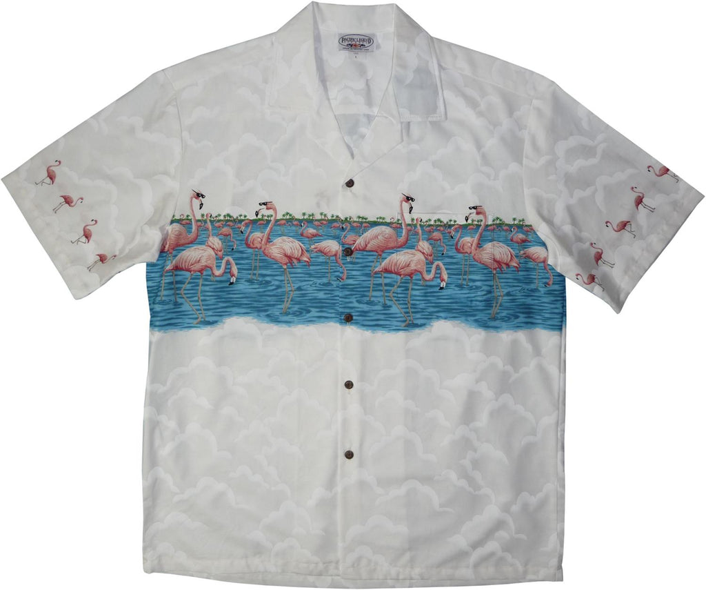 Flamingo White Hawaiian Border Aloha Sport Shirt - PapayaSun