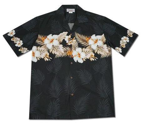 Hibiscus Black Hawaiian Border Aloha Sport Shirt - PapayaSun