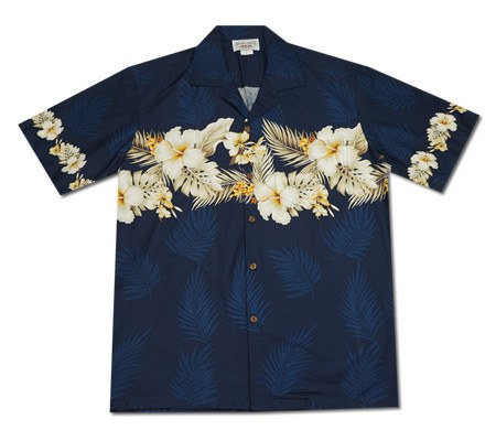 Hibiscus Blue Hawaiian Border Aloha Sport Shirt - PapayaSun