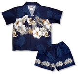 Hibiscus Blue Hawaiian Boy Cabana Border Shirt & Shorts Set - PapayaSun