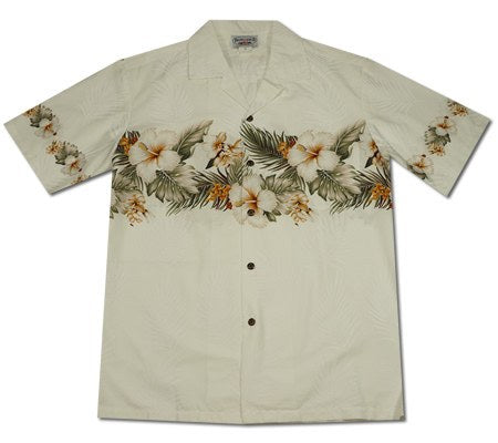 Hibiscus White Hawaiian Border Aloha Sport Shirt - PapayaSun