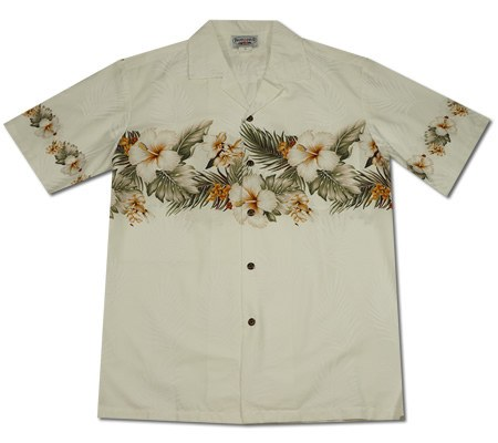 Anthurium White Vertical Border Hawaiian Shirt