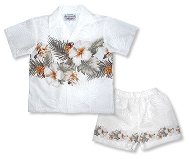 Hibiscus White Hawaiian Boy Cabana Border Shirt & Shorts Set - PapayaSun