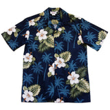 Hilo Blue Hawaiian Cotton Aloha Sport Shirt - PapayaSun