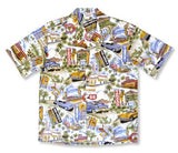 Historic 66 Cream Hawaiian Cotton Aloha Sport Shirt - PapayaSun