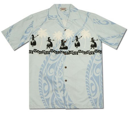 Hula Dance Blue Hawaiian Border Aloha Sport Shirt - PapayaSun
