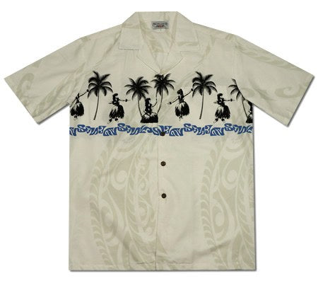 Hula Dance White Hawaiian Border Aloha Sport Shirt - PapayaSun