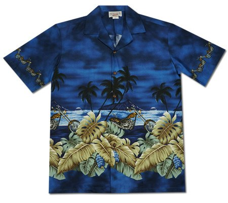 Island Choppers Blue Hawaiian Border Aloha Sport Shirt - PapayaSun