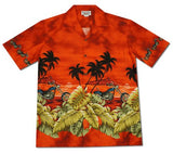 Island Choppers Orange Hawaiian Border Aloha Sport Shirt - PapayaSun