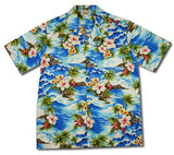 Lagoon Blue Hawaiian Cotton Aloha Sport Shirt - PapayaSun
