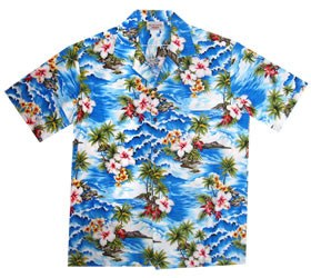 Lagoon Blue Hawaiian Teen Cotton Aloha Shirt - PapayaSun