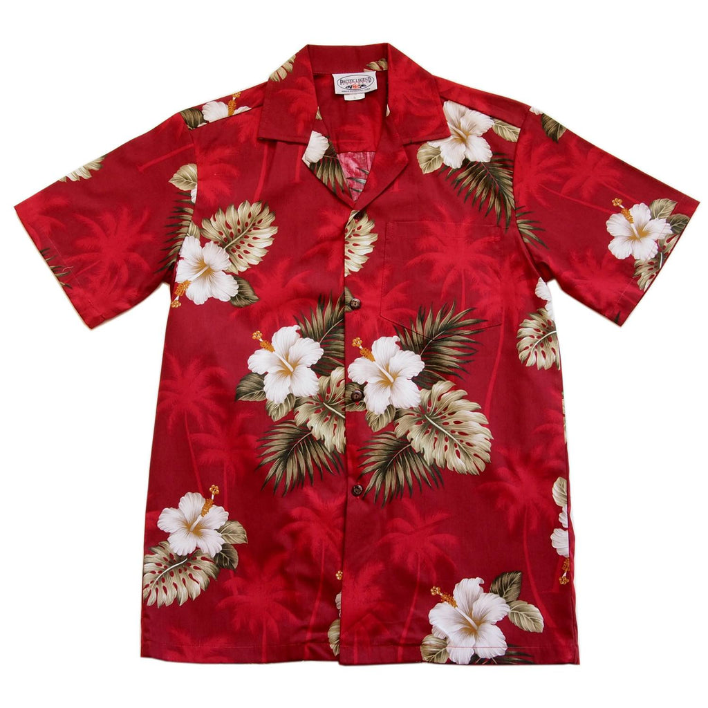 Lava Red Hawaiian Cotton Aloha  Sport Shirt - PapayaSun