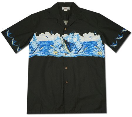 Marlin King Black Hawaiian Border Aloha Sport Shirt - PapayaSun