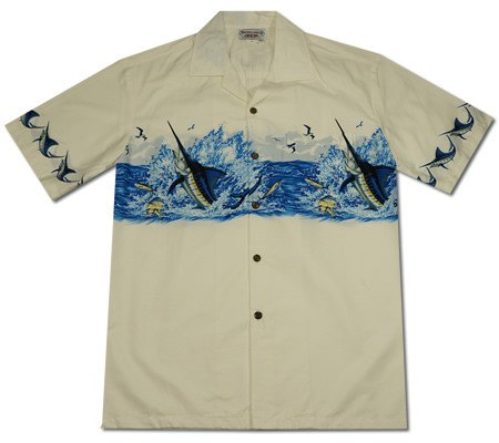 Marlin King White Hawaiian Border Aloha Sport Shirt - PapayaSun