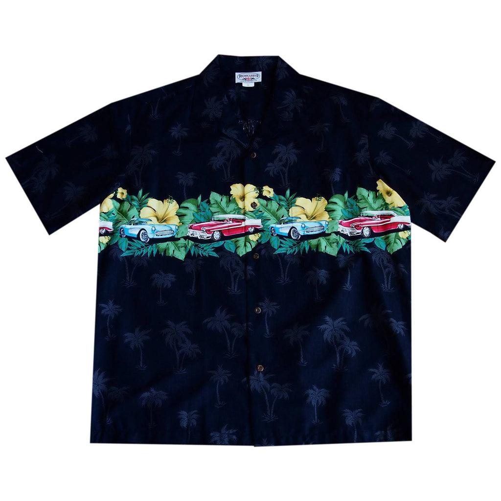 Muscle Car Black Hawaiian Border Aloha Sport Shirt - PapayaSun