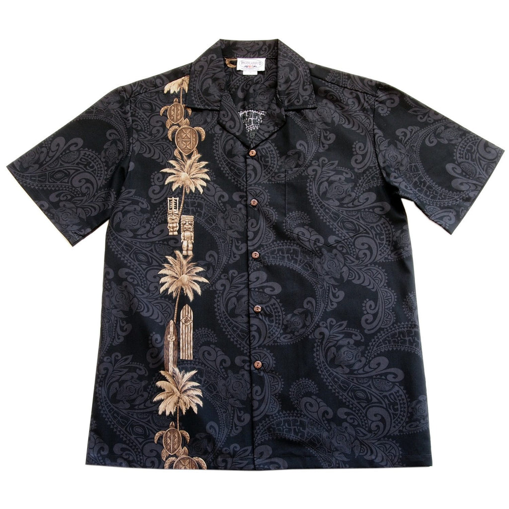 Old Hawaii Black Hawaiian Border Aloha Sport Shirt - PapayaSun