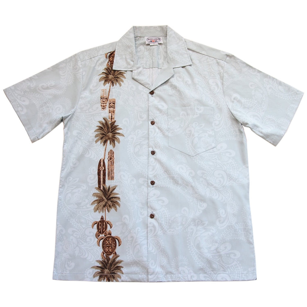 Old Hawaii White Hawaiian Border Aloha Sport Shirt - PapayaSun