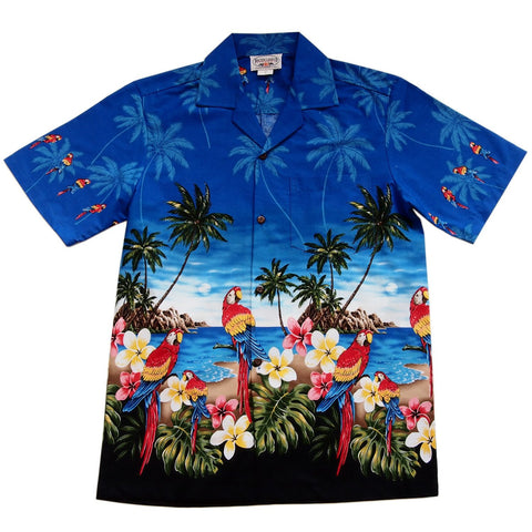 Macaw Navy Hawaiian Border Aloha Sport Shirt