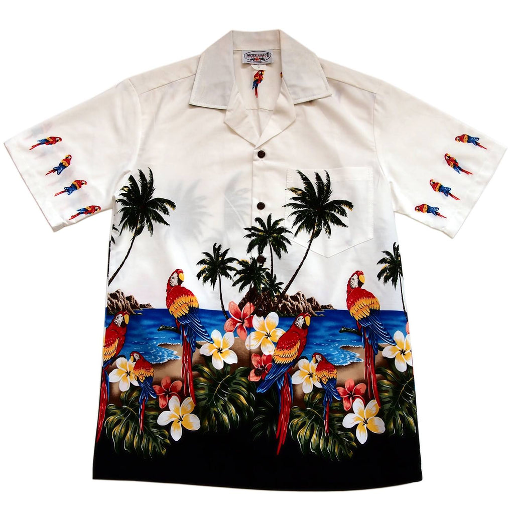 Parrot-Dise White Hawaiian Border Aloha Sport Shirt - PapayaSun