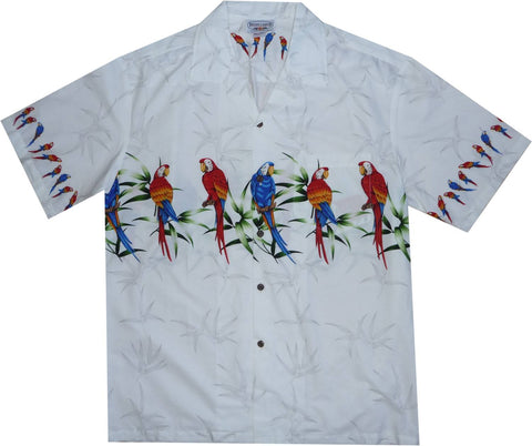 Bird of Paradise Black Hawaiian Border Aloha Sport Shirt