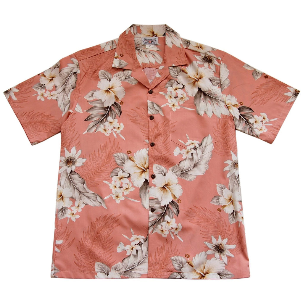 Petal Pink Hawaiian Cotton Aloha Sport Shirt - PapayaSun