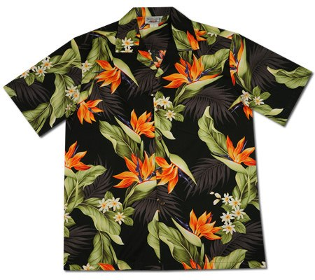 Rainforest Black Hawaiian Cotton Aloha Shirt - PapayaSun