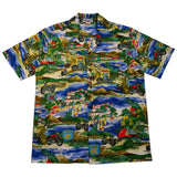 Route 66 Blue Cotton Hawaiian Shirt - PapayaSun