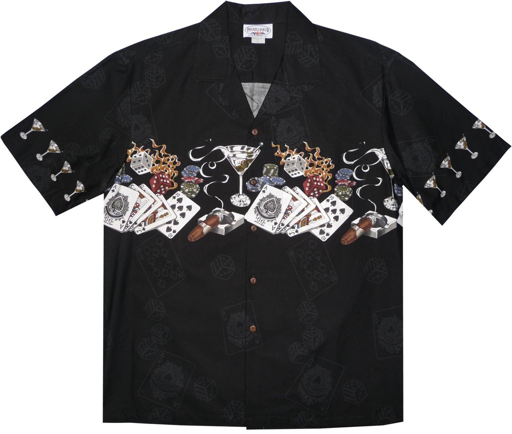 Royal Flush Black Hawaiian Border Aloha Sport Shirt - PapayaSun