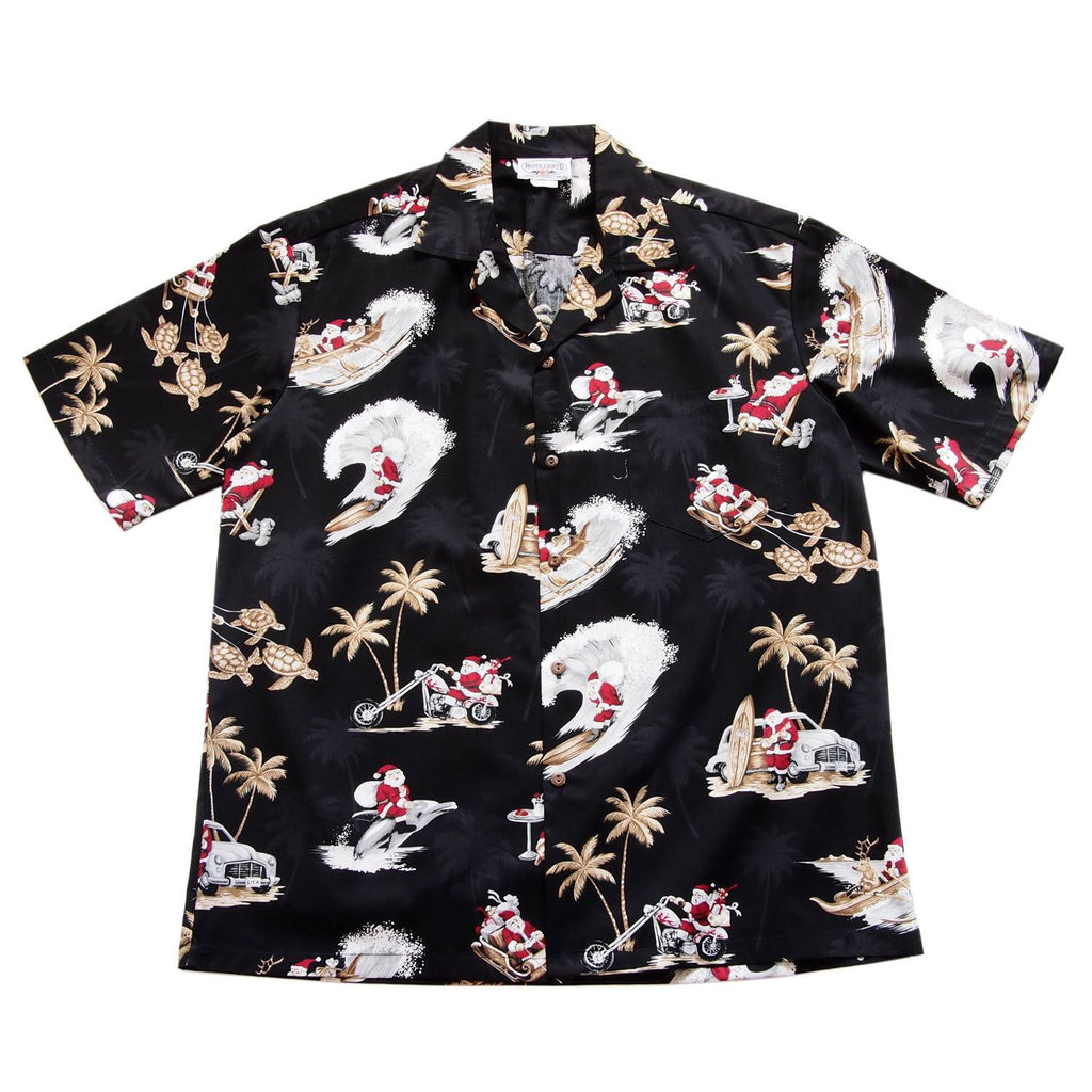 Santa Surf Black Cotton Aloha Hawaiian Print Shirt - PapayaSun
