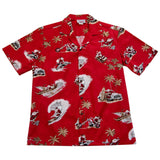 Santa Surf Red Cotton Aloha Hawaiian Print Shirt - PapayaSun