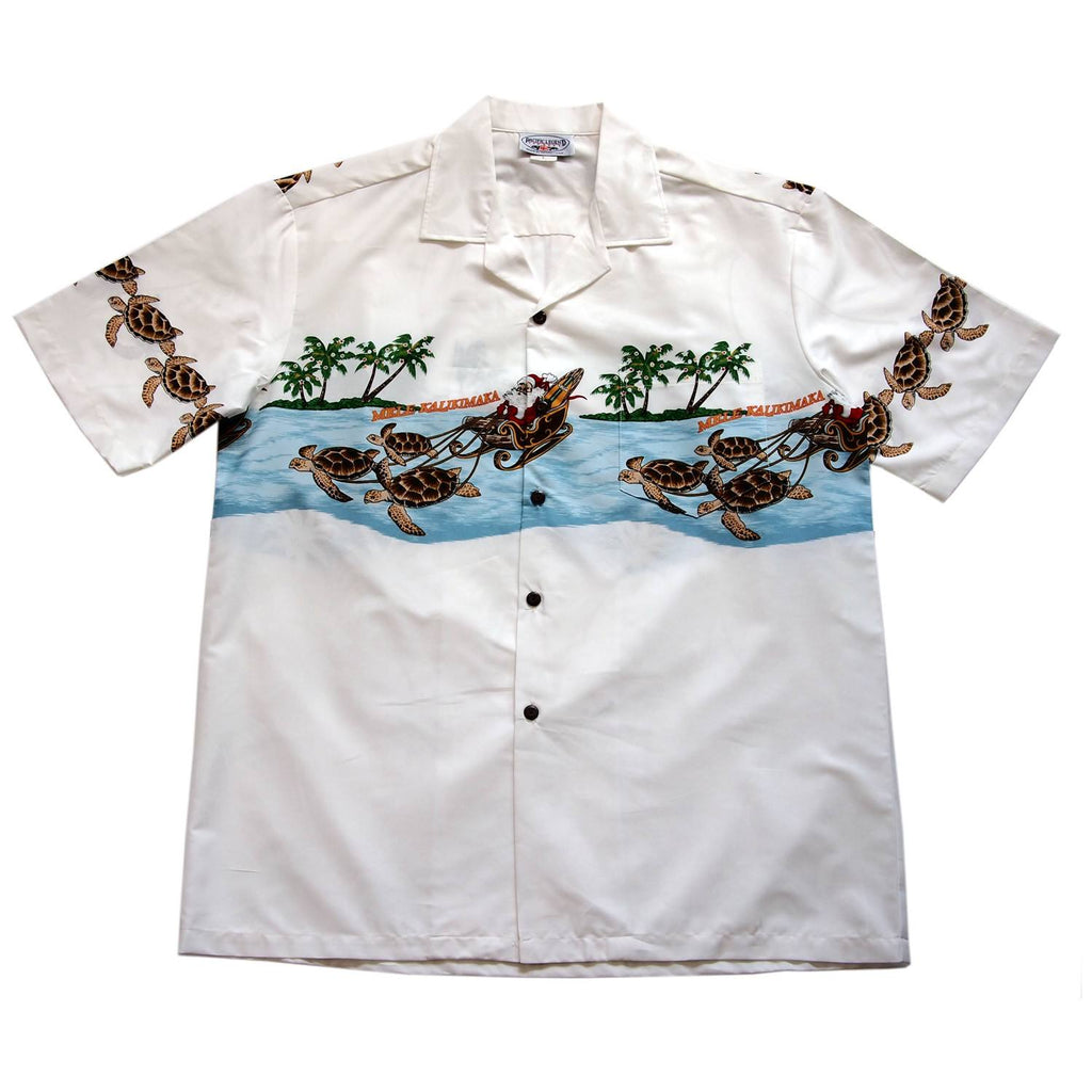 Santa Turtle Sleigh White Hawaiian Border Shirt - PapayaSun
