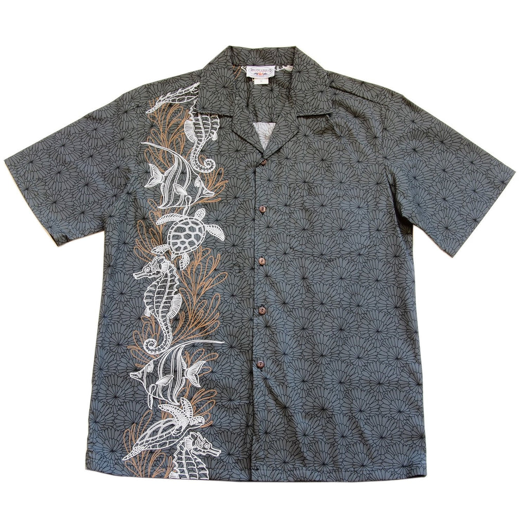 Sea Life Grey Hawaiian Border Aloha Sport Shirt - PapayaSun