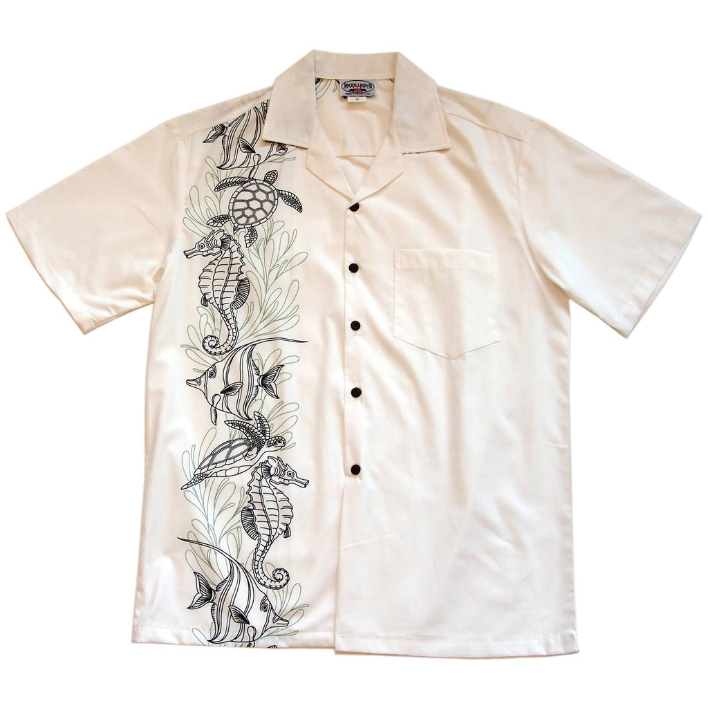 Sea Life White Hawaiian Border Aloha Sport Shirt - PapayaSun