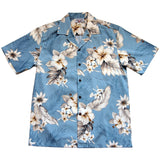 Sky Blue Hawaiian Cotton Aloha Shirt - PapayaSun