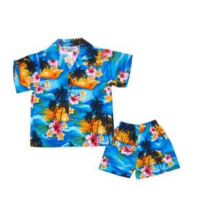 Waves Blue Hawaiian Teen Cotton Aloha Shirt