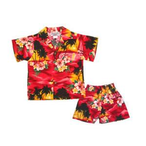 Sunburst Red Hawaiian Boy Cabana Shirt & Shorts Set - PapayaSun