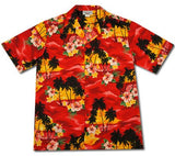 Sunburst Red Hawaiian Cotton Aloha Shirt - PapayaSun